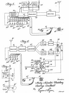 התרשים המקורי מ־1942 של המצאתם של הדי לאמאר וג'ורג' אנת'יל
