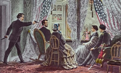"""אברהם לינקולן נורה בראשו. ציור המבוסס על איור מאת ט""""מ מקאליסטר, סביבות 1870"""