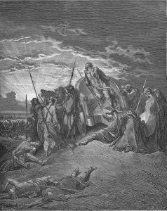 Newton thought that corrupt kings like the biblical Ahab added years to their reigns, making the dates recorded in the Bible inaccurate. Gustave Doré, the death of Ahab, print, 1866