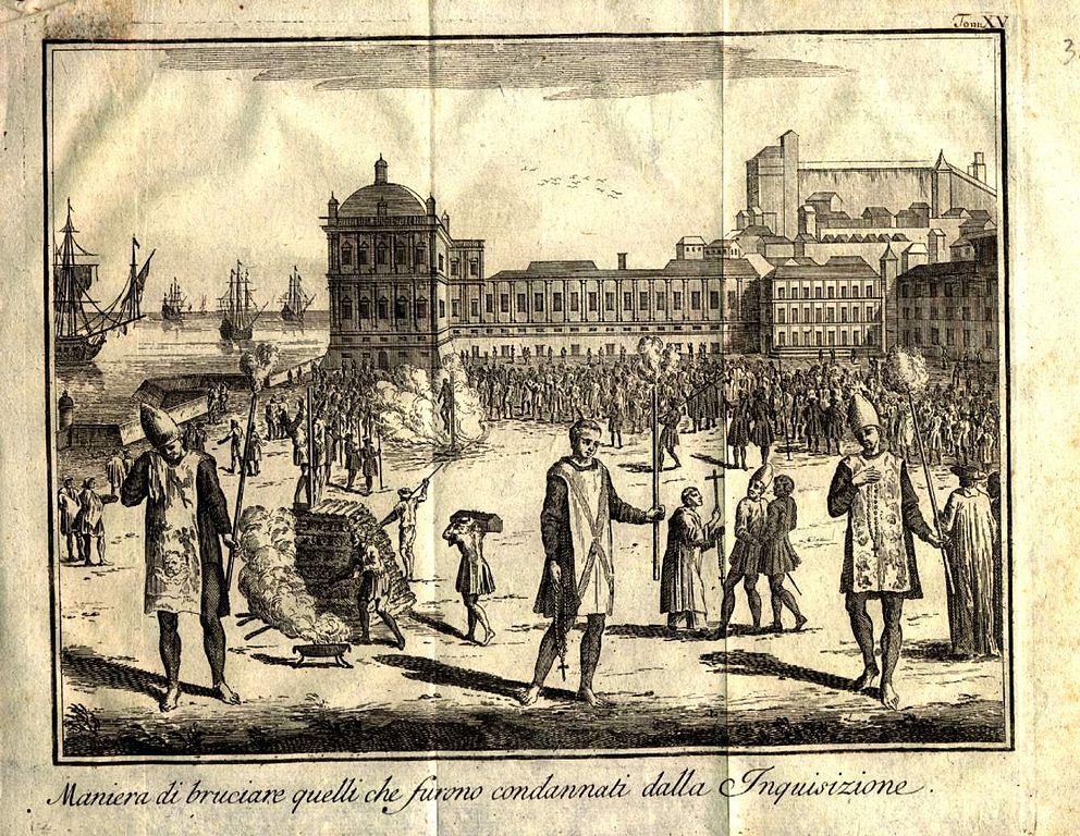 האינקוויזיציה מעלה על המוקד חוטאים. תחריט, המאה ה-17