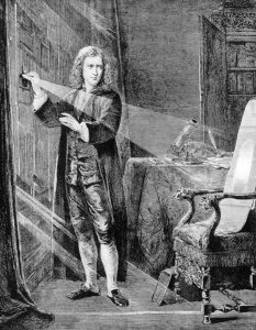 Newton uses a prism to diffract white light into its composite colors, demonstrating the properties of light. Wood engraving, 18th century