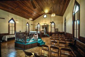 בית הכנסת בני אברהם בברנהם שבטקסס. בית הכנסת נבנה בסגנון התחייה הגותית ב־1893, והוא בית הכנסת הוותיק ביותר שעדיין פעיל בטקסס.צילום: לואיס דוידסון