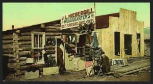 A crossroads store selling anything and everything necessary for life out west. Between 1898 and 1905, the Detroit Photographic Co. documented pioneer life in Photochrome color prints and postcards like this one