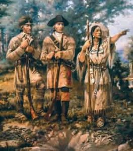 Lewis and Clark with Sacagawea, their Indian guide, at Three Forks, Montana – the beginning of the Missouri River. From a mural by Edgar Samuel Paxson in the lobby of the Montana House of Representatives