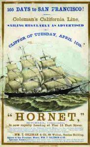 בתחרות שיט מניו יורק לקליפורניה ניצחה ספינת המפרש 'הורנט' את הספינה 'ענן מרחף' והשלימה מסע בן חמישים אלף ק״מ סביב כף הורן ב־106 ימים. שיא זה הופך את הפרסומת שבתמונה — שלפיה מסע שגרתי אורך רק 105 ימים — לאופטימית מעט מאוסף ספריית הקונגרס