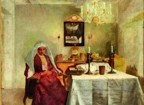 ליל שבת שמן על בד, מ״ס 91x73 וינה, 1920 המוזאון היהודי, ניו יורק איזידור קאופמן 1921־1853 ראליזם