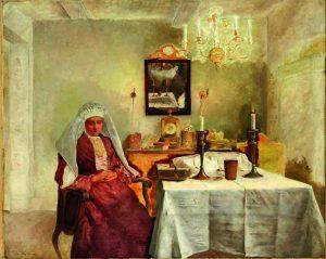 Isidor Kaufmann, Friday Evening, oil on canvas, 73 x 91 cm Vienna, 1920
