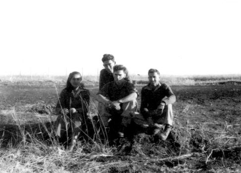 Platoon leader Rafael Eitan (second from right) with subordinates in 1948