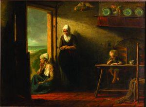 יוזף ישראלס, אחרי הסערה, שמן על בד, 111x146 ס״מ, הולנד, 1858. מאוסף ג׳ רוזנשטיין, מוזאון תל אביב לאמנות