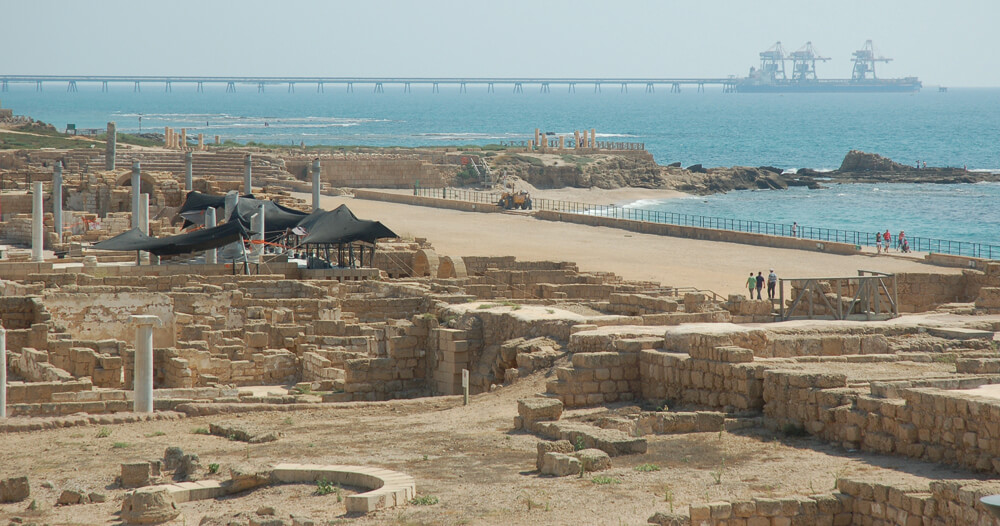One of the most excavated sites in Israel, Caesarea shows that Josephus' descriptions were no exaggeration. Herod did indeed create a Roman polis – complete with amphitheater, hippodrome, and forum – where previously there was barely a village. View of the ancient port today