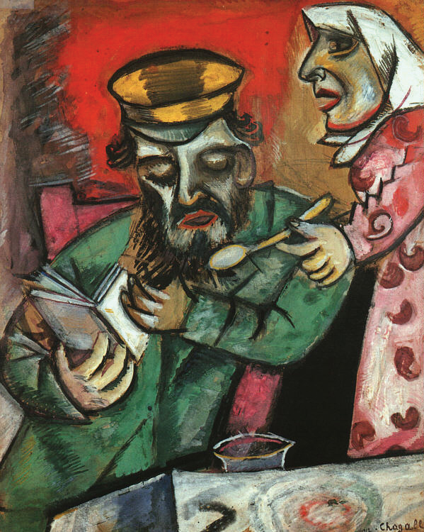 Chagall's Hasidic roots are clearly visible in his paintings – especially those of the Jewish shtetl and his family. Gender stereotypes define this early depiction of his parents, in which his mother spoon-feeds his father, who is absorbed in a book