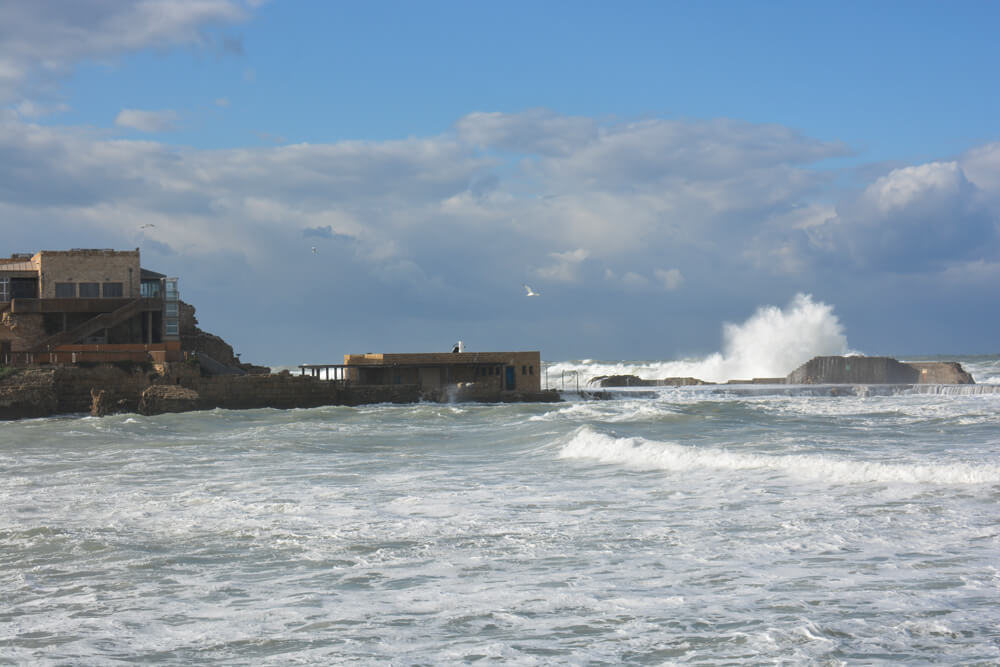 Destroyed by wind and wave? Research on the effects of recent winter storms indicates just how damaging they can be. The ancient port during an average gale, winter 2015