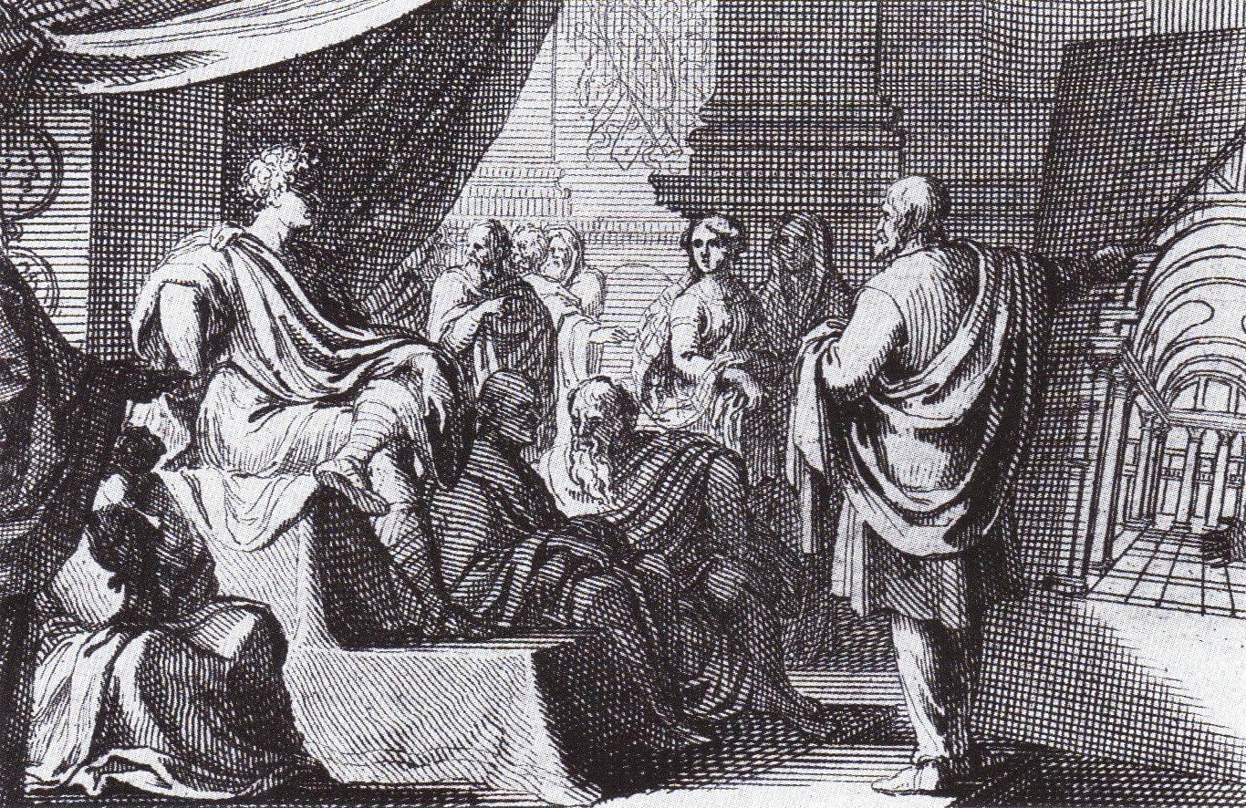 Vitruvius presenting his architectural vision to Emperor Augustus.