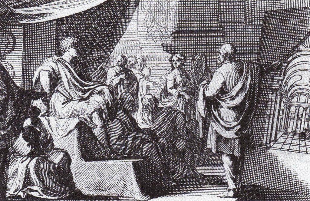 ויטרוביוס מציג את רעיונותיו על האדריכלות בפני אוגוסטוס. פרט מתוך תחריט של סבסטיאן לקלרק המופיע במהדורה שהוציא תומס גורדון סמית' לספרו של ויטרוביוס ב־1684