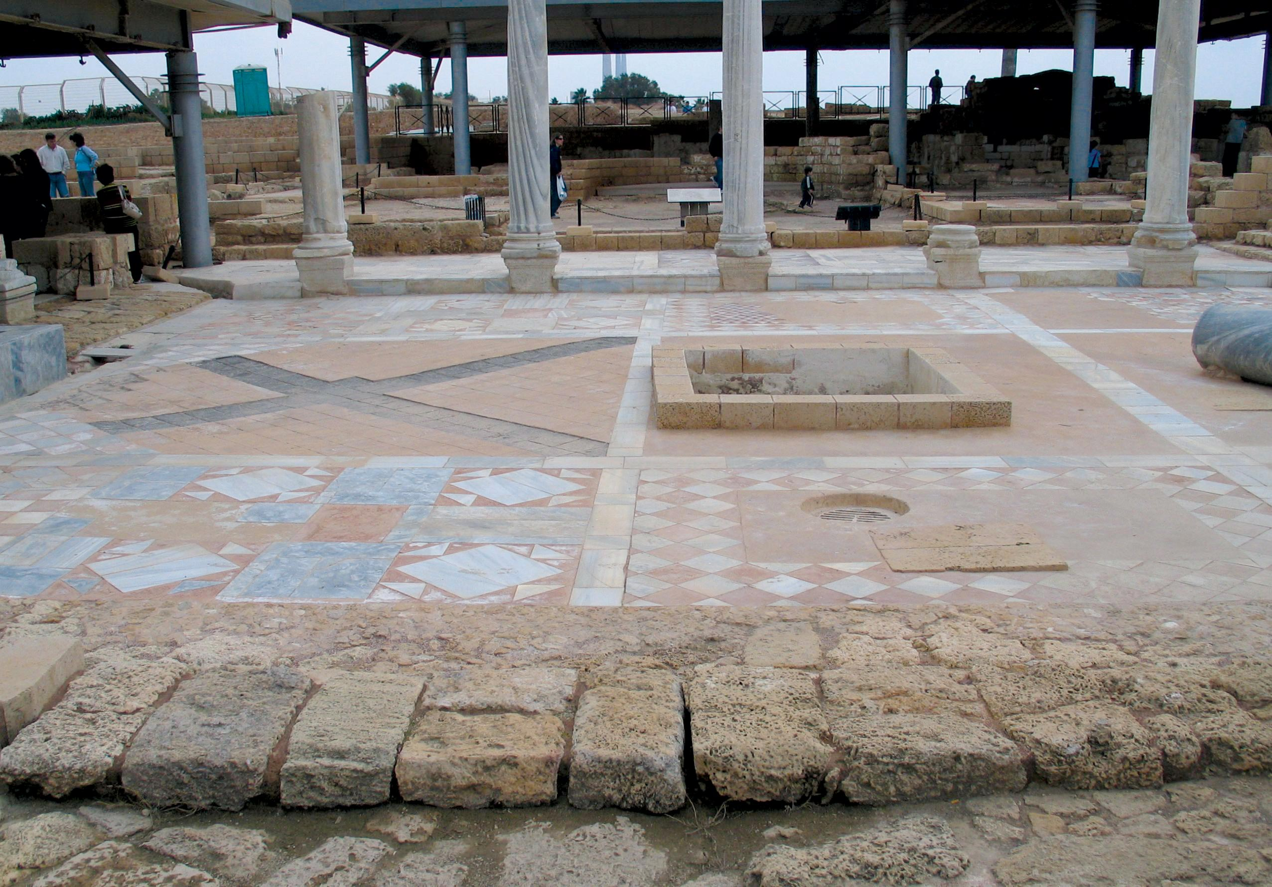 Reconstituted opus sectile floor from a late Roman structure in Caesarea