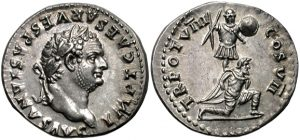 Silver coin minted in Judea in 79 ce, depicting the conquest of Judea by the Flavian emperors. Titus' head appears on the obverse, with an armed Roman soldier standing over a captured Jew on the reverse