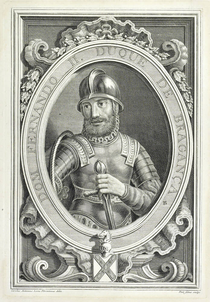 One minute a prince, the next a prisoner. Fernando, duke of Braganza, John II's enemy and King Manuel's brother-in-law, in an etching from 1755