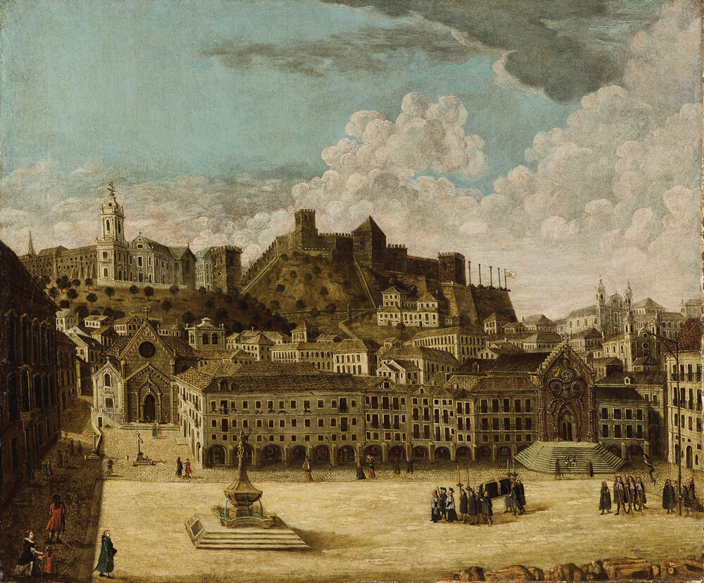 Lisbon's central Rossio Square, where Jews were held while priests tried in vain to convert them, was destroyed in the earthquake that flattened nearly the entire city in 1755. This anonymous 18th-century oil painting, predating the quake, shows the square more or less as it was then