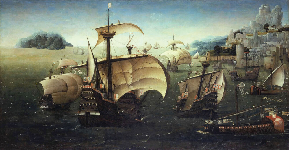 The Portuguese caravels and carracks were world-famous for their sailing capabilities, making 15th- and 16th-century Portugal a maritime power. Jews traveled the Atlantic aboard these vessels, seeking refuge on the shores of South America or off the African coast. Portuguese carracks off a rocky coast, by the circle of Joachim Patinir, circa 1540