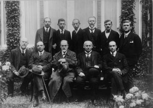 Freud (seated third from left) at a scientific conference at the Hague, Holland, 1920