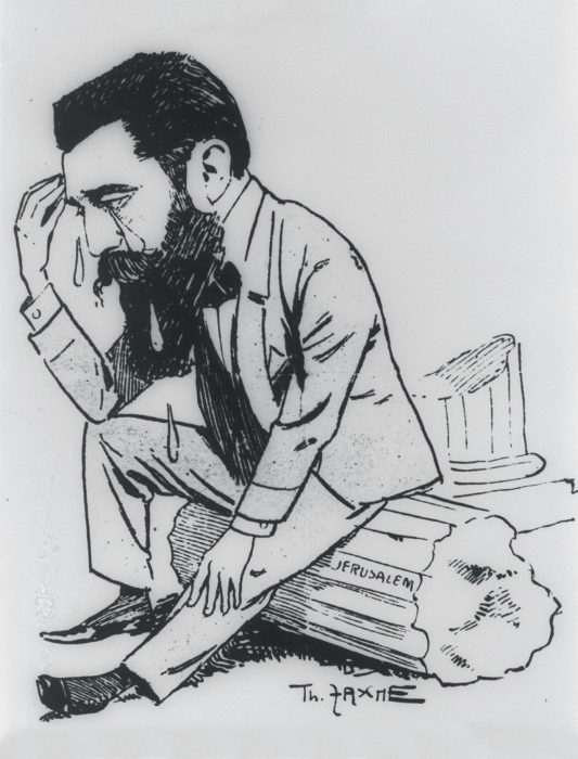 Herzl weeping among the ruins of Jerusalem. Caricature from the Vienna journalists' union yearbook, 1896