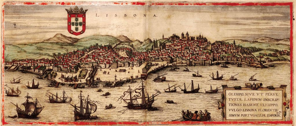Lisbon, view from the sea. Portugal was a world power in the 16th century, controlling shipping in the Far East and imports of gold from Brazil. Growth in the Portuguese capital of Lisbon was so swift that although the entire city was destroyed by an earthquake in 1531, no signs of ruin appear in this etching dating just forty years later