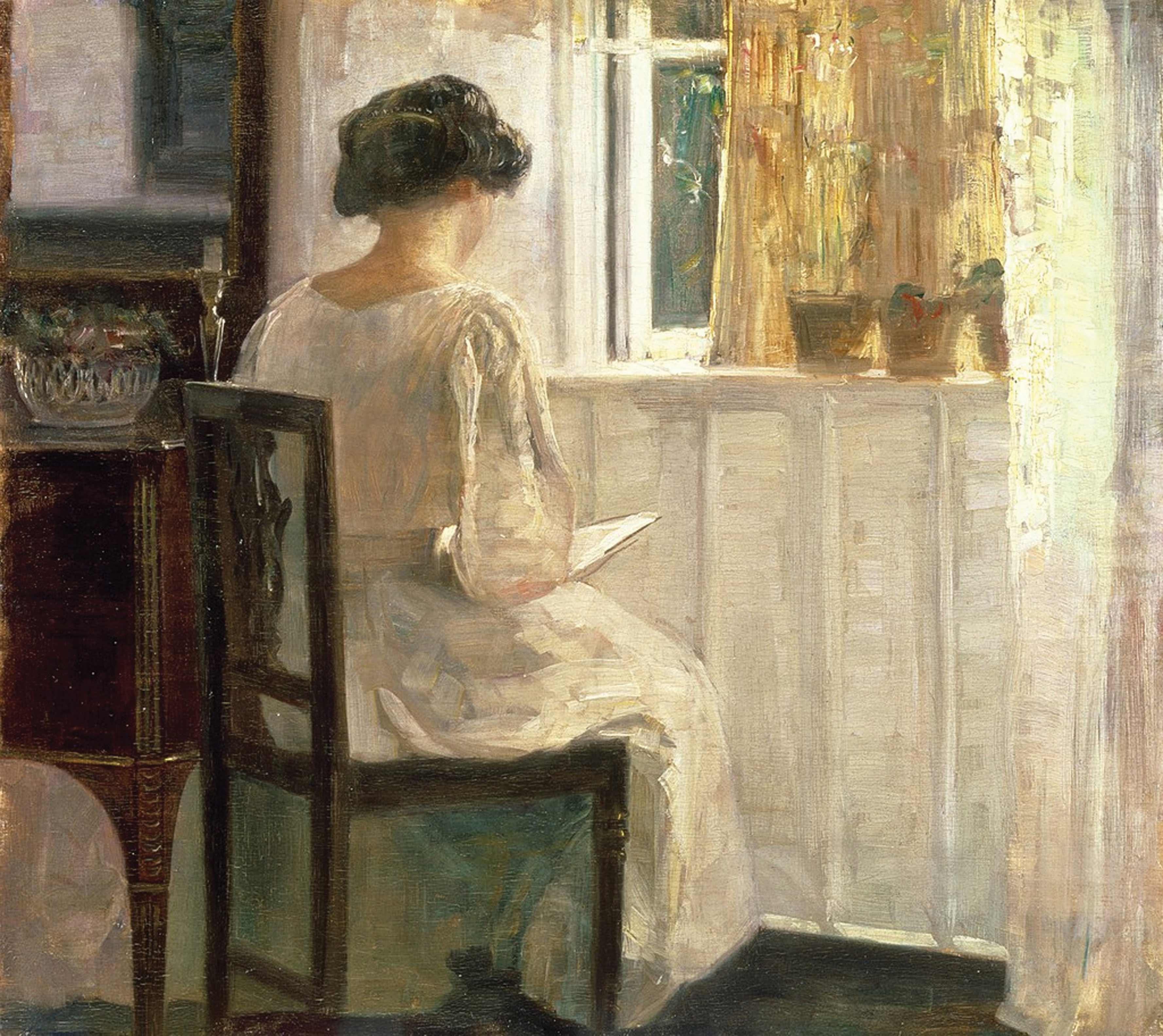 נשים יודעות קרוא וכתוב הפכו למחזה נפוץ יותר ויותר במערב במאה ה-19. אחר צהריים קסום, קרל הולזה, שמן על בד, שלהי המאה ה-19