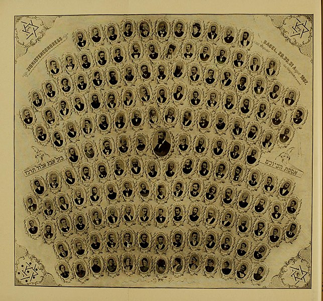 Delegates to the first Zionist Congress in Basel, August 29–31, 1897. Out of roughly two hundred participants, only thirteen were women, and all were relegated to the bottom row