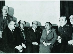 Members of the Jewish Anti-Fascist Committee. Seated, left to right: poet Itzik Feffer; Solomon Mikhoels; Ben-Zion Goldberg, a visiting journalist from the U.S. who was Sholem Aleichem's son-in-law; biologist and physiologist Lina Stern; Aaron Katz; and Yiddish writer Peretz Markish