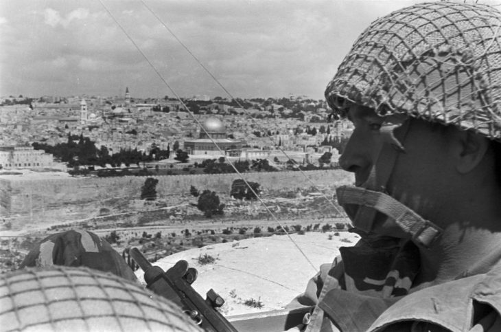 Motta Gur and brigade staff gazing at the Old City from the Mount of Olives