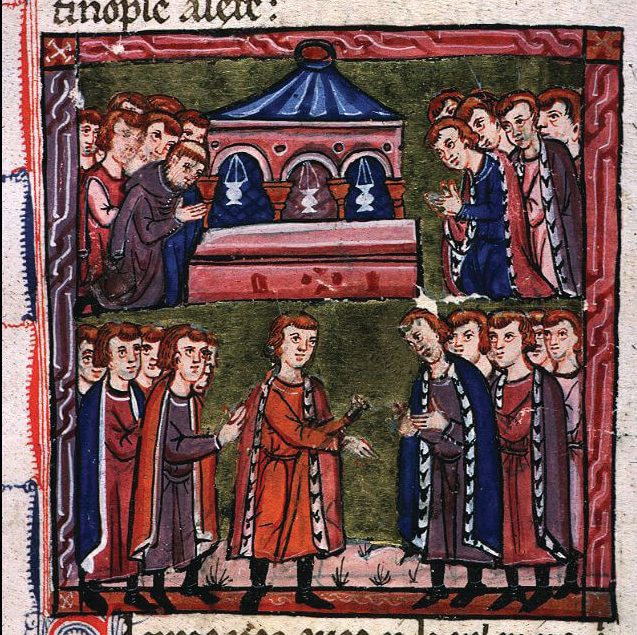 "Godfrey of Bouillon is selected as ""Defender of the Holy Sepulcher."""