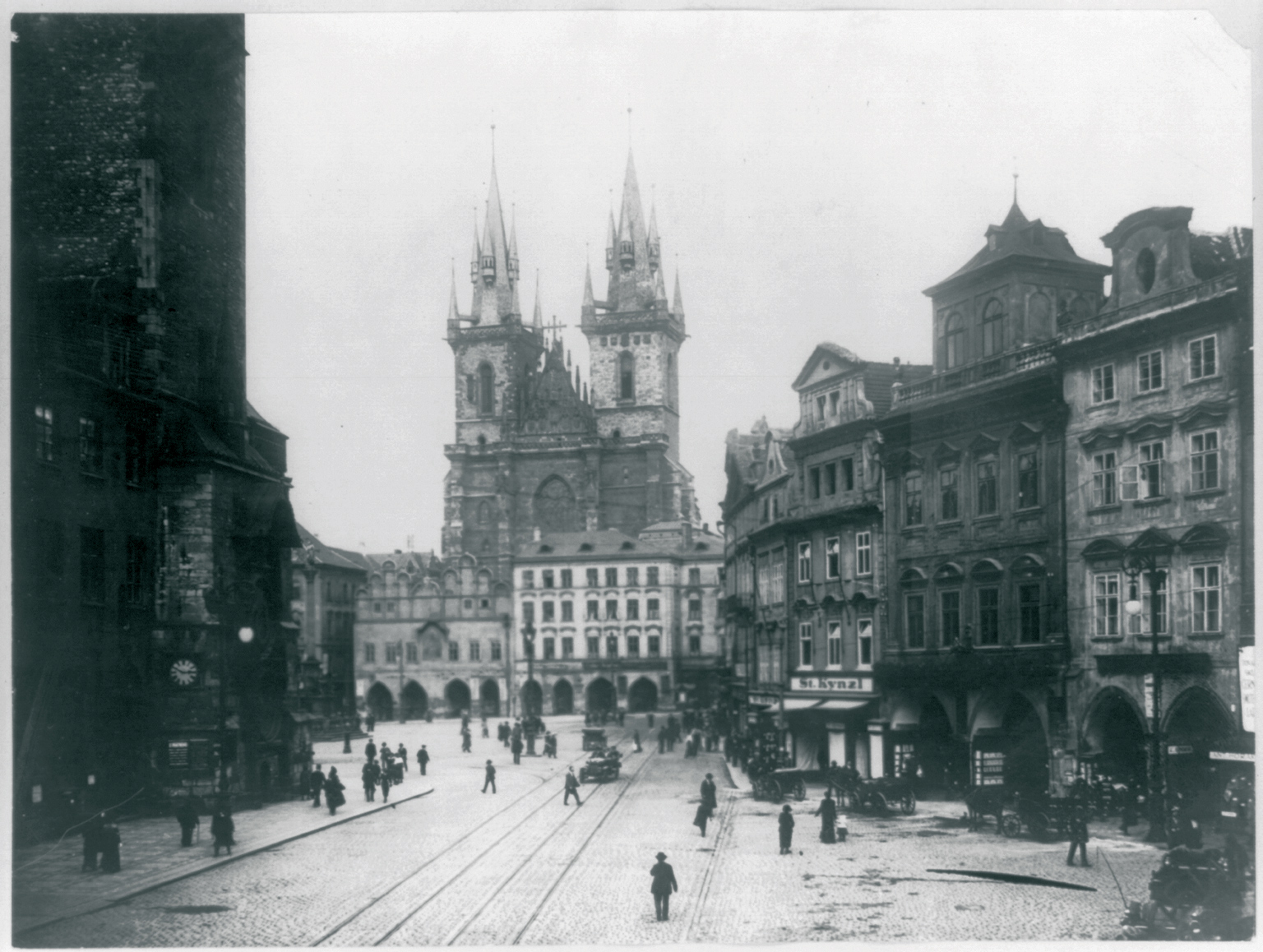 The Old City of Prague is one of Europe's most popular tourist sites – and one of the most charming. In the 19th century, when it was built, its somewhat kitschy look was in vogue. View from the Old City toward the Charles Bridge, 1920