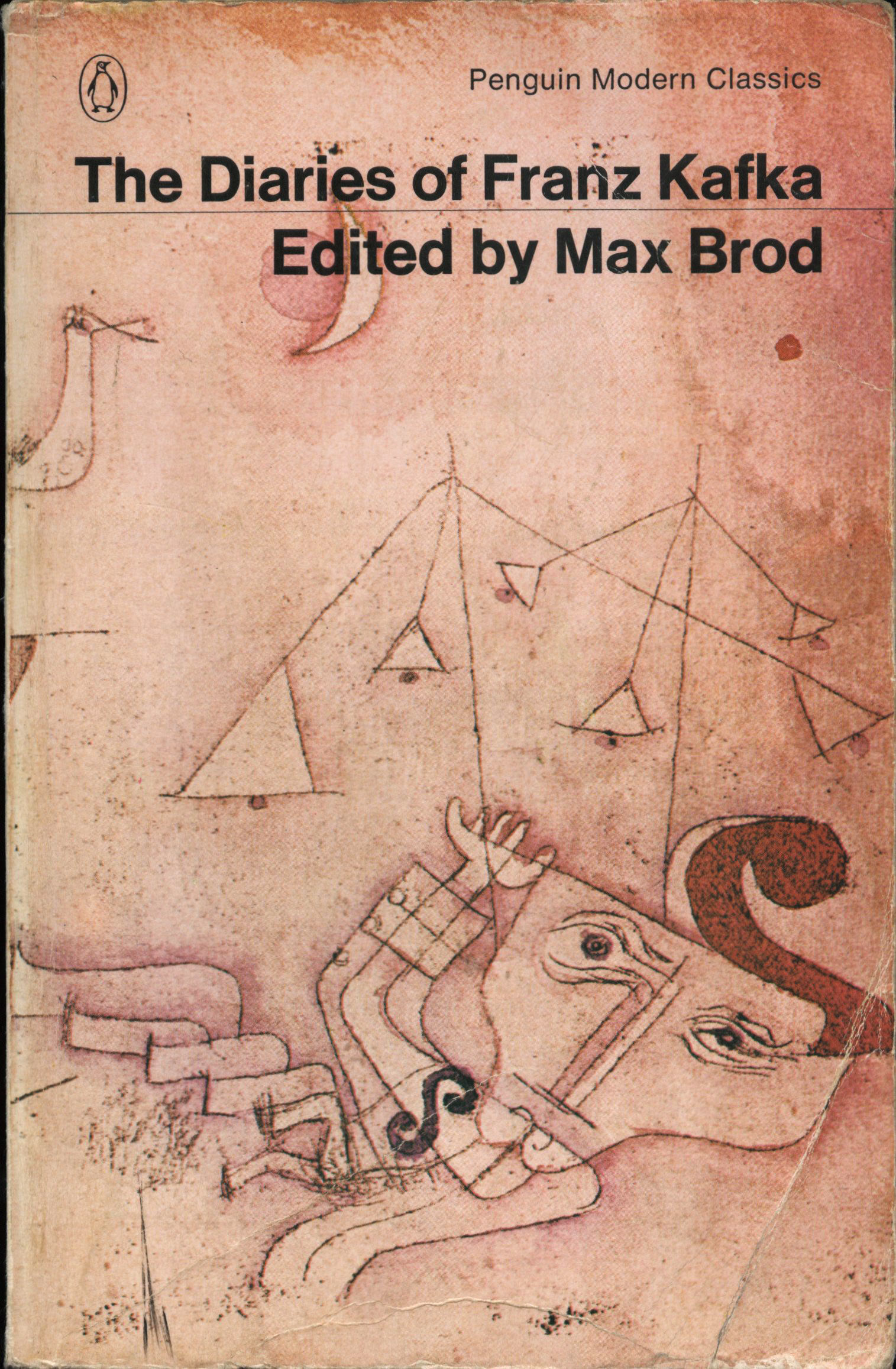 Kafka's diaries, 1964 edition. Max Brod published the diaries in 1949