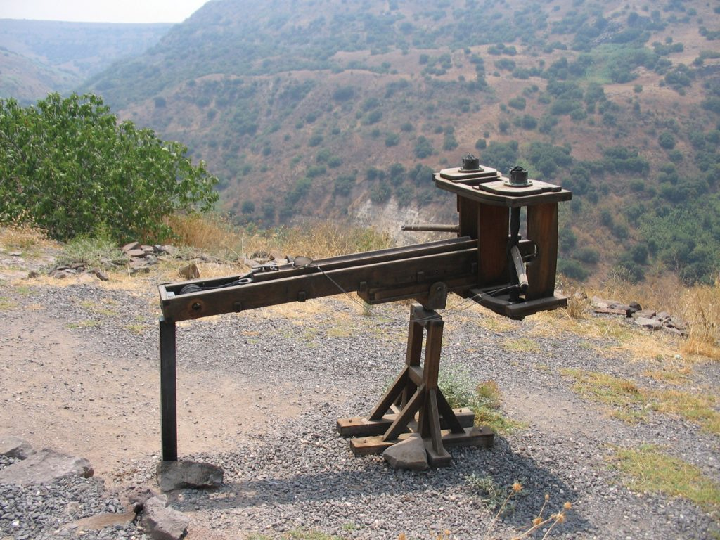 The Romans fought the rebels of Judea with the most sophisticated military technology available. Reconstruction of a ballista for firing iron bolts or stone shot, on display in Gamla National Park