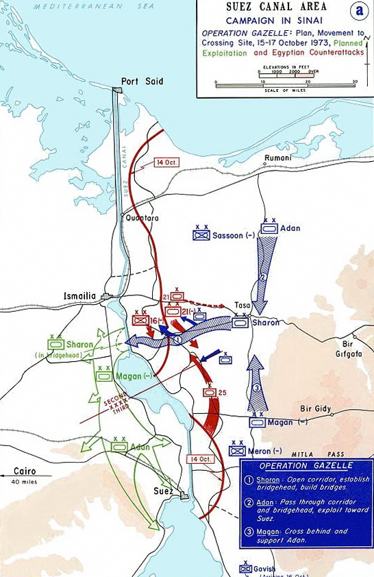 Image of Operation Gazelle (also known as Operation Abiray-Lev or Operation Stouthearted Men) during the Yom Kippur War. Modified to show only the Israeli plan for the operation.