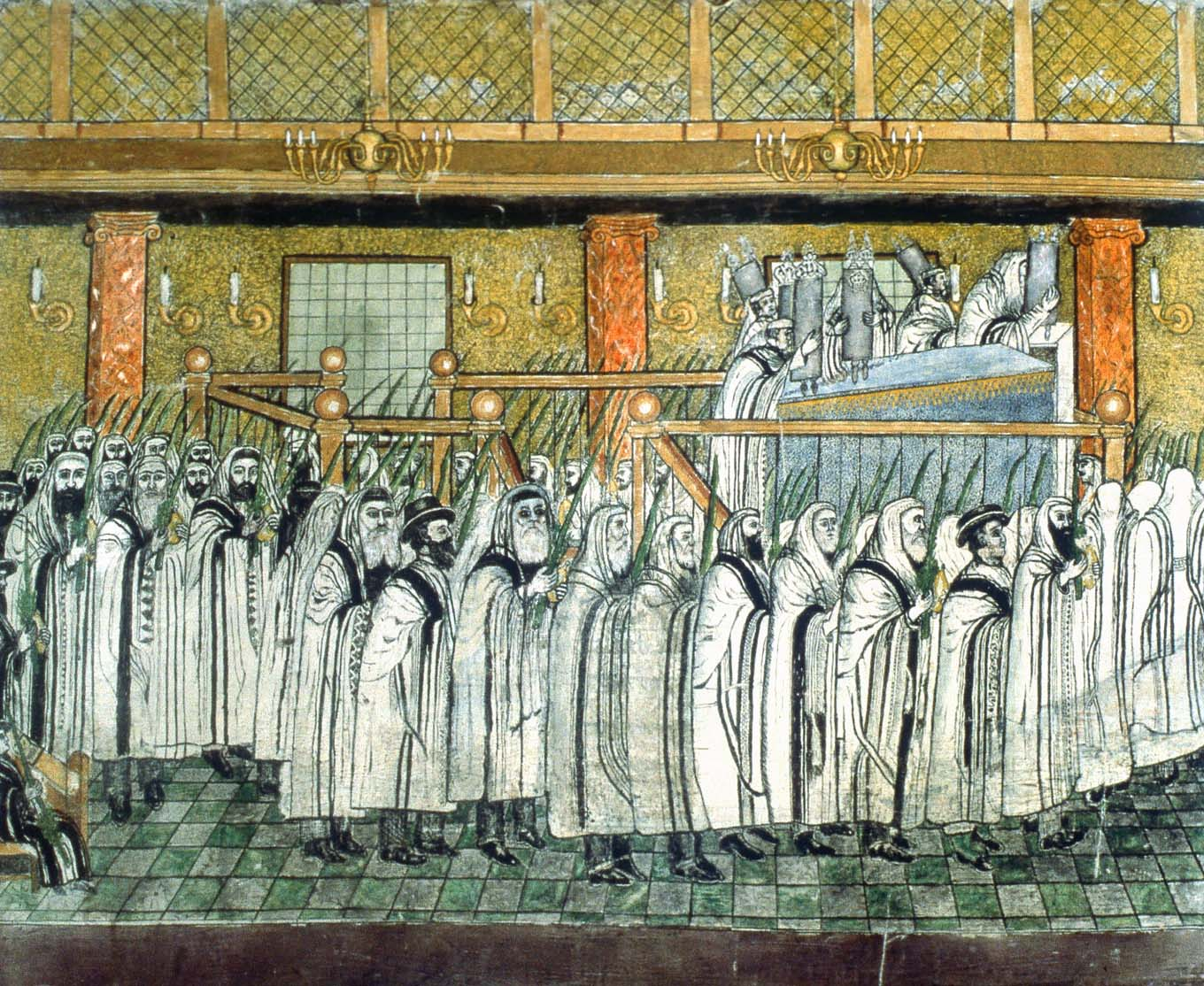 Lulav and etrog in hand, worshippers circle the reader's platform on Sukkot in the synagogue, as featured on the Sukka's lower panel