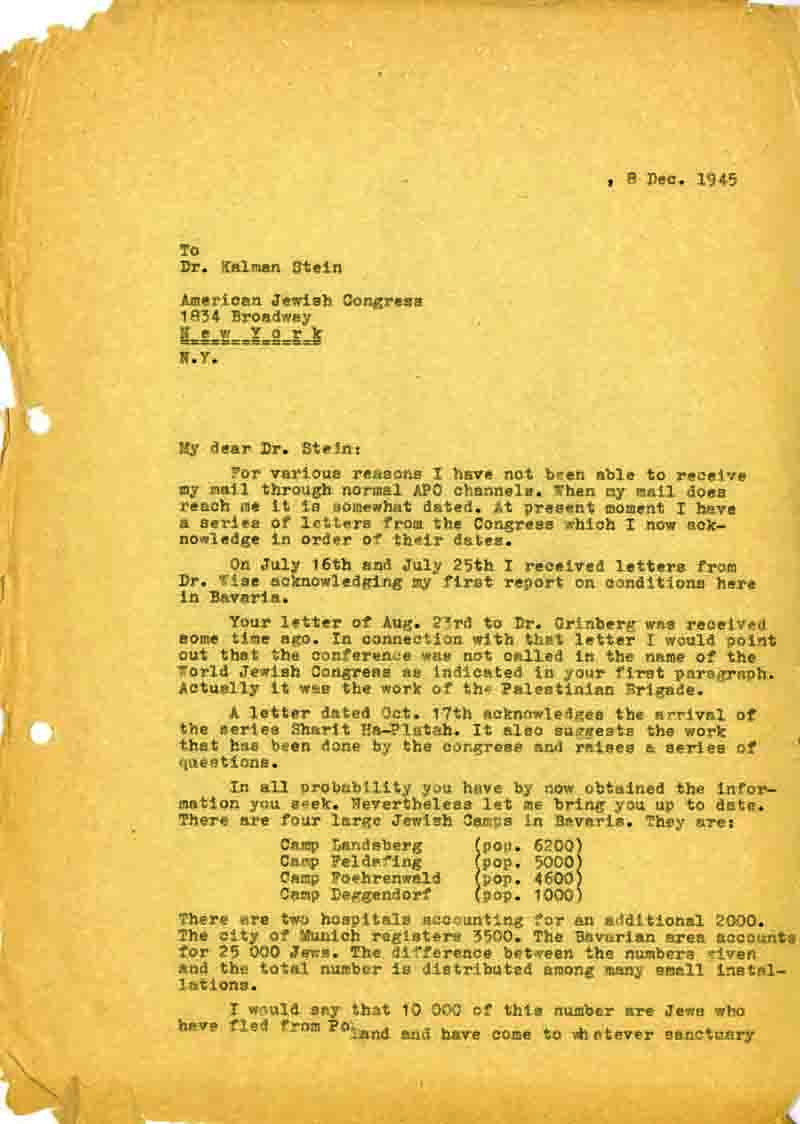 In a letter Klausner estimates the number of Jews who were in Displaced Persons camps.