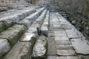The steps leading from the Pool of Siloam to the Temple Mount. The steps were excavated by archaeologists Ronny Reich and Eli Shukron, who research the City of David.