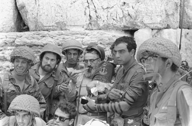 Soldiers with then-IDF chief rabbi Shlomo Goren as he blows a shofar at the Western Wall, June 7, 1967