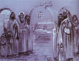 Pilgrims handing their hosts the skin of sacrifice