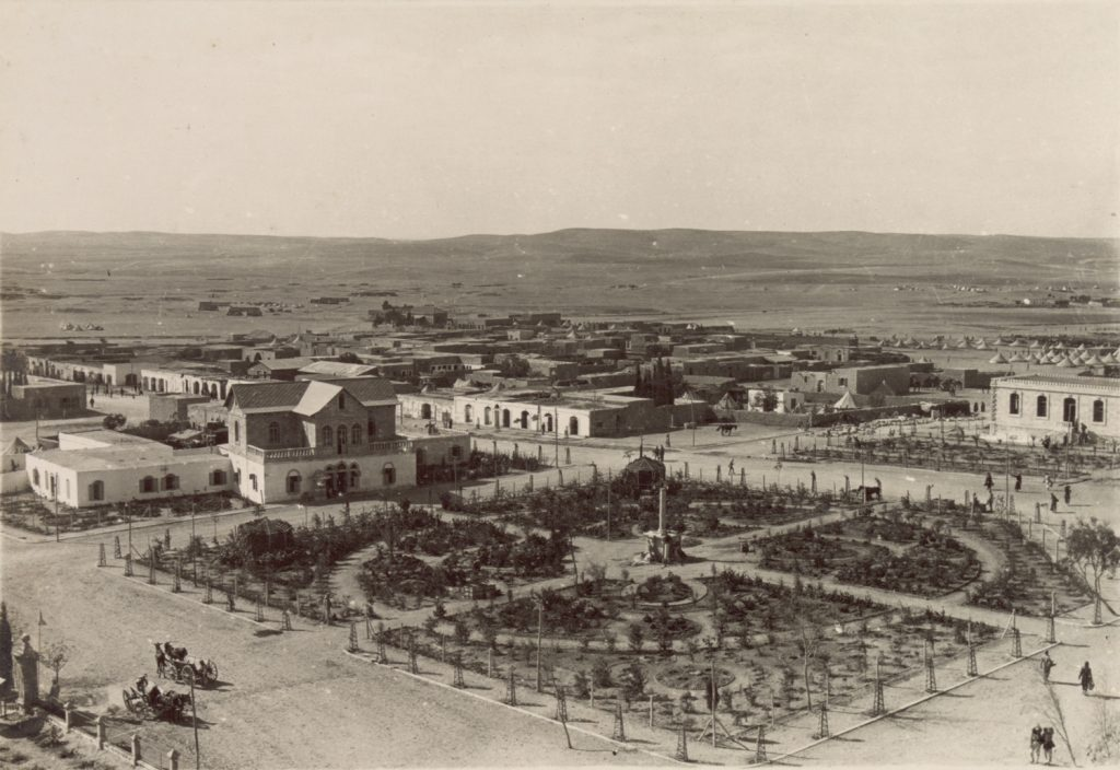 Modern Beersheba was built by the Ottoman Empire early in the 20th century to consolidate Turkish rule in an area inhabited mostly by Bedouin. The architecture is European. Beersheba in 1917, shortly before its capture by the British