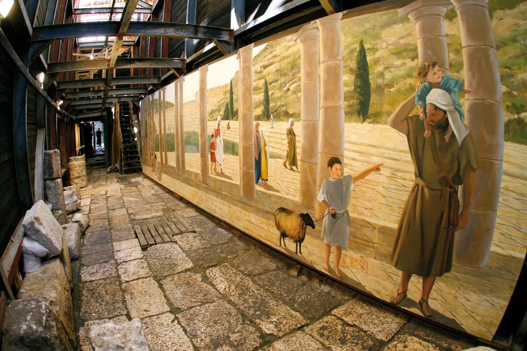 The Siloam Pool as it looked during the Second Temple period, as seen from the northern side of the pool. This artist's impression is located in situ, exactly where an observer would have stood to get this perspective