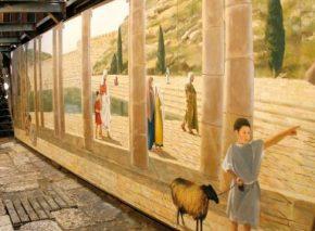 ברכת השילוח כפי שנראתה בתקופת בית שני מנקודת מבטו של העומד בצדה הצפוני של הברכה - הנקודה שבה מוצב הציור