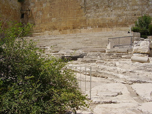 The Hulda steps leading to the southern wall of the Temple