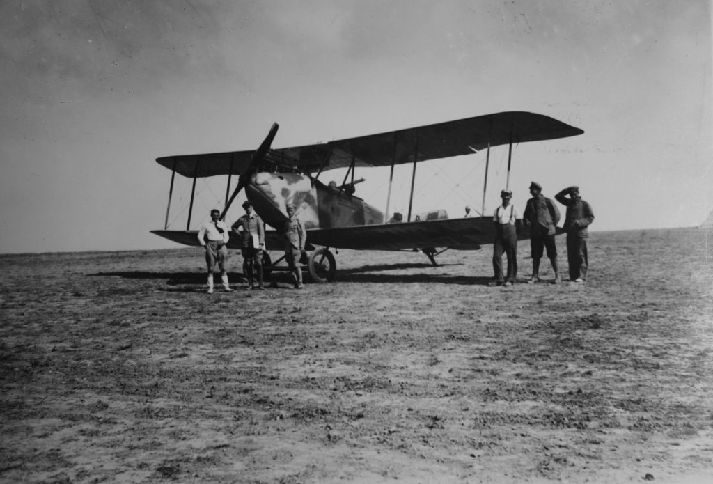 Reconnaissance flights made significant contributions to army intelligence in the battle for Palestine. German reconnaissance plane parked in the desert during the campaign
