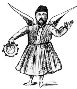 Cruel caricature of Ismail Pasha, drawn by Yaqub Sanua