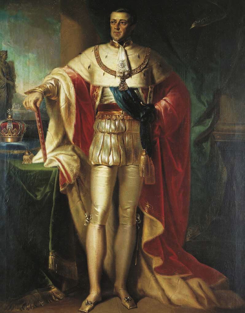 Portrait of Carlo Alberto (Charles Albert), king of Sardinia-Piedmont and emancipator of his Jewish and Protestant subjects, by Giovanni Marghinotti, oil on canvas, 1841.