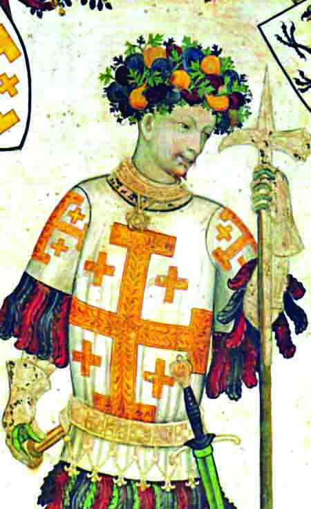 "Though Godfrey of Bouillon declined the title ""king of Jerusalem,"" he is shown here wearing the emblem of the kingdom – St. George's Cross. The garland of fruits on his head (perhaps a veiled reference to Jesus' crown of thorns) signifies humility. Detail from a fresco by Giacomo Jaquerio in Manta Castle, in Saluzzo, Italy"