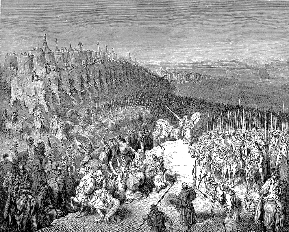 Despite the Hasmoneans' many brilliant victories, the Akra's capture remained an elusive goal. Judah Macabbee encourages his troops before attacking Nicanor's in a 19th-century engraving by Gustave Doré