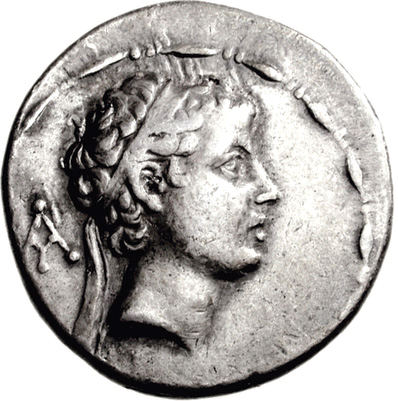 Antiochus V was only nine when he succeeded his father Antiochus IV on the throne, and he was assassinated just two years later. Profiled on this coin, the boy king looks older than he actually was